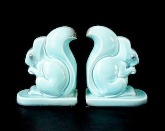 Turquoise Ceramic Squirrel Bookends - 1940's Art Deco Bookends - Animal Bookends - Vintage Bookends