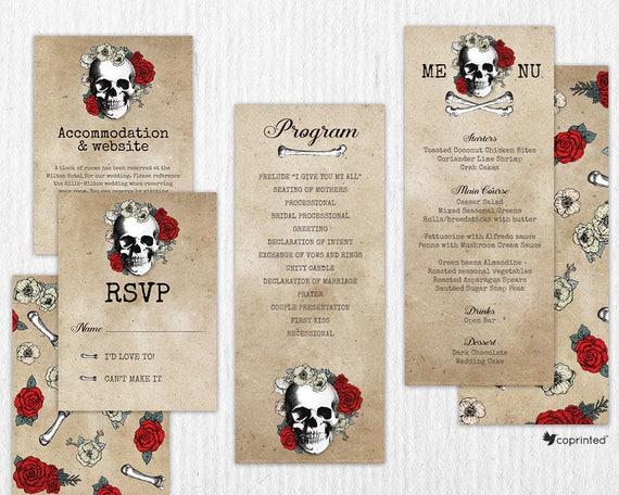 Exceptionnel Faire-part de mariage thème tête de mort Invitation de QT27