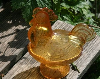 antique pressed glass Rooster hen Bonboniere