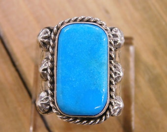 Incredible Sterling Silver Turquoise Ring by Albert McCabe size 11.25