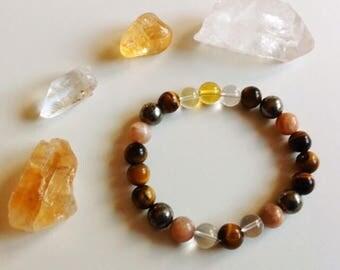 Money Making & Prosperity Bracelet, Prosperity Mala, Good Luck stones, Citrine, Tigers eye, pyrite, abundance, wrist mala, mala bracelet