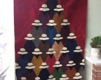 Colorful Wool Tapestry depicting People in Hats / Peruvian  / Folk Art / Kilim