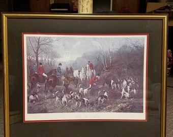 L@@K! Run To Earth Art Hunting Dogs Painting by Heywood Hardy with Frame