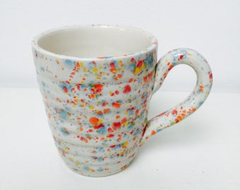 Hand glazed ridge mug - confetti