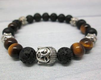 Gift idea Tiger eye bracelet Men jewelry Matte onyx bracelet Brown bracelet Gift/for/brother Unisex bracelet Meditation bracelet Tiger eye