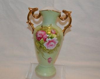 Lefton China Heritage Green Vase Hand Painted Vintage Item #4134