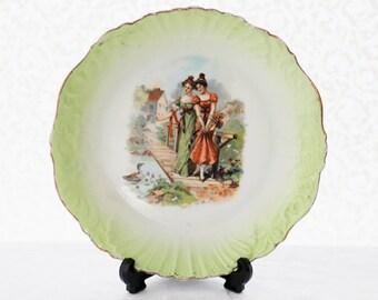 Porcelain plate limegreen embossed edges,  goldcolor rims Edwardian Ladies , lovely, c1930