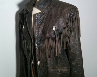 Vintage Fringed Leather Jacket from Johnsons