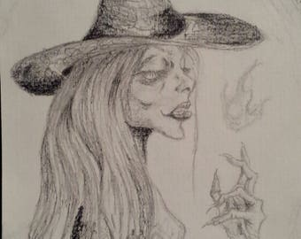 "Original Witch drawing ""The Flamekeeper"""