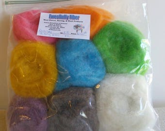 Romney Felting Wool Assorted Colors