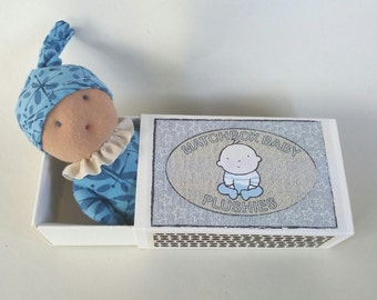 Match box baby plushie, miniature baby in box/bed