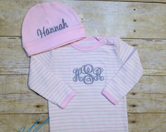 Coming Home Outfit & Hat Set- Newborn Baby Girl- Baby Shower Gift- Baby Photos- 100% Organic Cotton Coverall and Hat Set