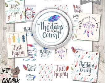 Quote Stickers, Planner Stickers, Printable Planner Stickers, Life Stickers, Motivational Quotes, Planner Accesories, Life Quotes, Feather