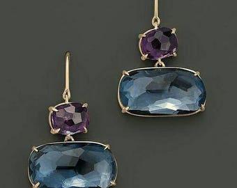 Amethyst and London blue topaz drop earrings