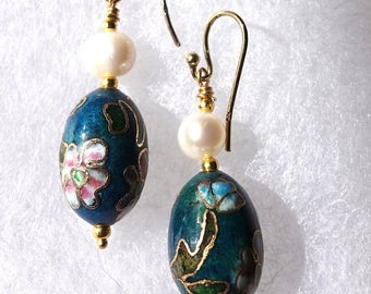 Earrings: vintage cloisonne and a pearl with gold vermeil earwires 1 5/8 inch