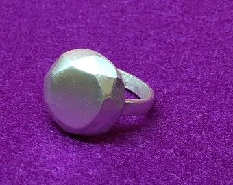 Faceted Fine Silver Gem Ring
