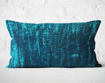 Plush Teal Cushion, Silk Velvet Cushion Cover, Lumbar Cushion, Couch Pillow, Lumbar Pillow