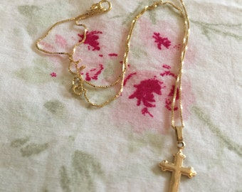"""Vintage 14K Solid Gold Baby/Child's Cross With 14"""" Chain"""