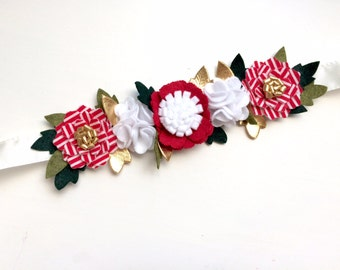 Christmas flower crown - candy cane red stripe, gold, green leaves, red and white blossoms