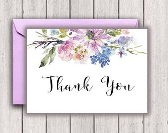 Wedding Thank You Notes, bridal thank you notes, thank you card, bridal thank you, floral thank you, purple thank you, PrintableStyles