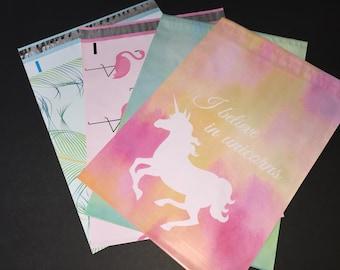 100  10x13 Designer Assortment Flamingo Peacock Unicorn Poly Mailers 25 Each Self Sealing Envelopes