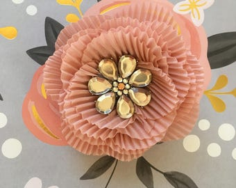 Small Pink Pleated Flower Brooch with Stones