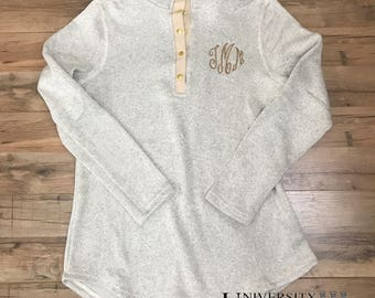 Monogrammed Tunic Pullover