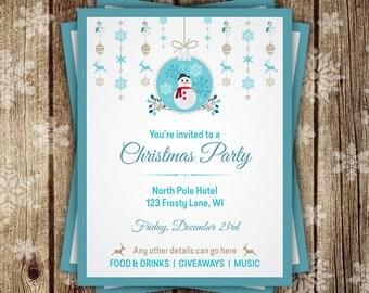 Christmas Flyer, Christmas Party Flyer, Merry Christmas Flyer, Personalized Flyer, Retro, Christmas party invite, Digital Christmas flyers