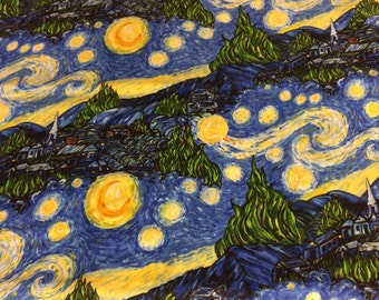 Starry Night Vincent Van Gogh inspired fabric, fine art fabric, art, painting fabric, star fabric, cotton fabric