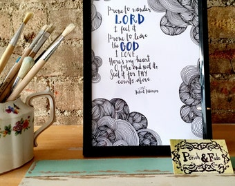 Come Thou Fount Hymn Quote A4 Art Print