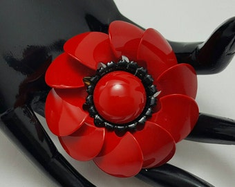 Red And Black Enamel Flower Pin