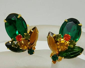 Colorful Green Rhinestone Earrings