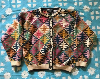 Colorful Knit Cardigan, 1980s, Women's Size 2