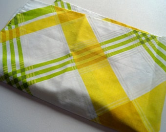 Vintage Pillow Case in Yellow and Green Plaid - Supply for a PIllowcase Dress!