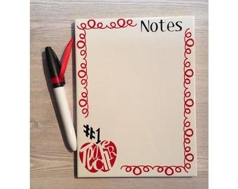 Teacher Notes Dry Erase Tile - Teacher Gift - Back to School - Holiday Gift - Teacher Thank you