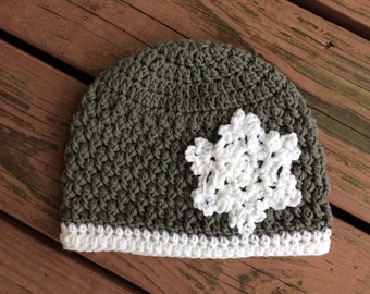 Snowflake Crochet Hat - Cotton Hat - Beanie - Toddler Hat - Baby Hat - Newborn - Infant Winter Hat - Handmade