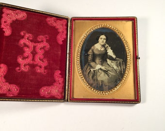 Half-Plate Daguerreotype of a Young Lady in a Fitted Dress, 19th Century Antique Photo in Beautiful Full Case
