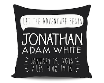 Birth Announcement Pillow, Custom Reveal Pillow, Personalized Baby Gift, Boy Name Pillow, Custom Baby Gift, Newborn Stats Pillow, Pregnancy