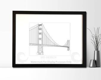 San Francisco Golden Gate Bridge Sketch, Picture, Framed Picture, Digital Art