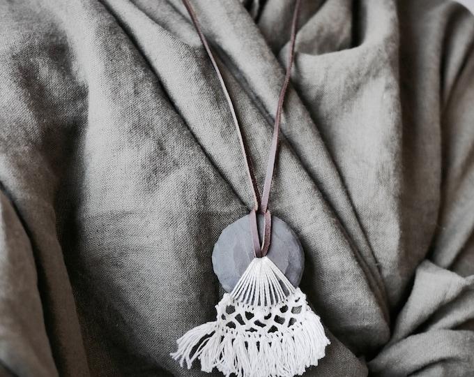 SALE//Leather, Ceramic & Lace Necklace