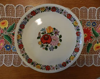 Kalocsa Decorative Wall Plate, Hand painted hungarian folk plate, Vintage Painted Porcelain Plate