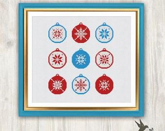 Christmas Bubbles Cross Stitch Pattern,  modern cross stitch pattern, needlecraft