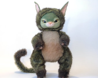 Fantasy Stuffed Animal Precious green cat fern Magical Fairy Tale Wild Wight Collectible Nice Kawai Original Fantasy Creature