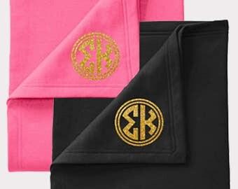 Sigma Kappa Blanket, Embroidered Blanket, Sigma Kappa Monogram, Monogram Letters, Greek Letters, Sigma Kappa Letters, Recruitment Gift