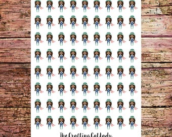 Gardening Stickers | Flower Bed Stickers | Yard Work Stickers | African American Girls