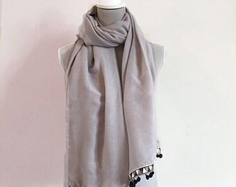Art Deco Shawl - Art Deco, cotton shawl, pom pom shawl, pom pom scarf, pom pom, Art Deco, gift for friend, pashmina shawl, gift for her