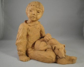 Boy with Dog Clay Art Figurine Signed Children Classroom Nursery Child Pet Love 6 by 4 by 6 Inches Animal Rescue Pet Adoption