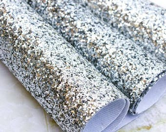 Chunky Glitter Fabric Material - Silver