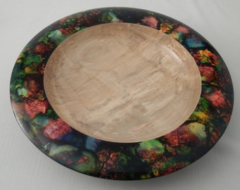 Painted Wood Bowl Decorative Curly Maple Hand Turned