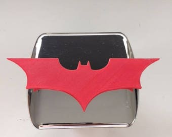 Dark Knight 3D Version -  Chrome with Red - 2 inch Trail Hitch Cover  - Superhero Batman